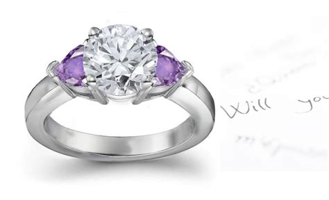 purple sapphire hearts and engagement rings