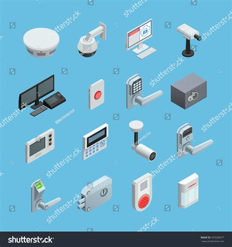 home security system elements isometric icons stock vector