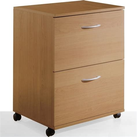 Nexera 2 Drawer Mobile Vertical Wood Natural Maple Filing Wood File Cabinet