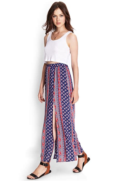 forever 21 folk print maxi skirt in purple lyst