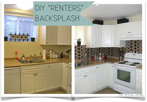 diy kitchen backsplash tile ideas diy quot renters quot backsplash with vinyl tile