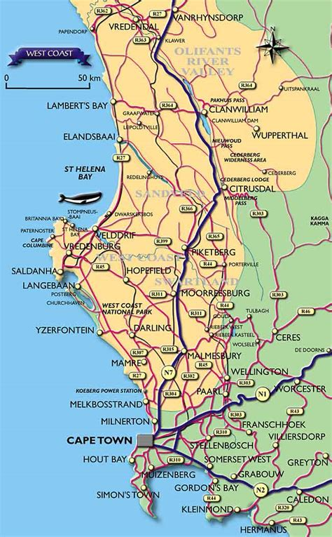 map of west coast visitors guide to cape town western cape west coast map