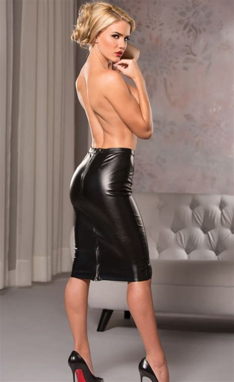 faux leather knee length pencil skirt