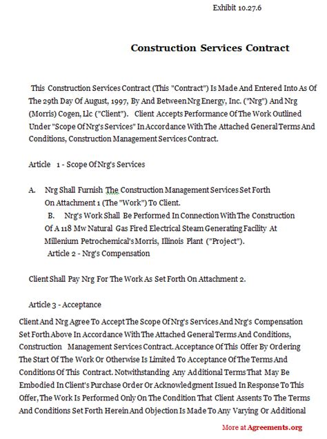 Agreement Letter For Building Construction Contract Template Cyberuse