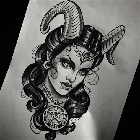 devil woman tattoo design sketch and