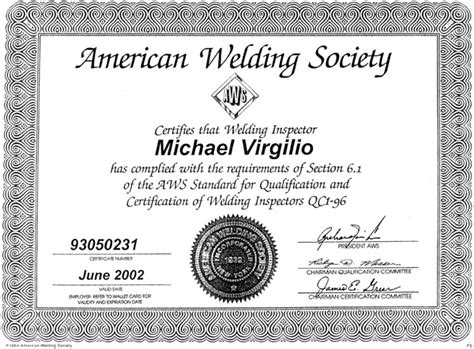 Welding Certificate Template certified welding inspector resume sle a welding