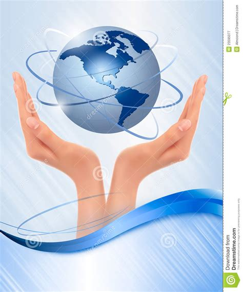 background  hands holding globe royalty  stock