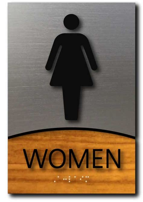 women only bathroom sign modern ada compliant women only restroom sign in brushed aluminum and wood laminate