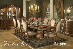 Michael Amini Dining Room Michael Amini Cortina Honey Walnut Finish Dining Room Set