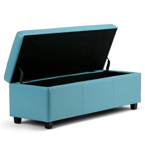 storage bench blue faux leather storage bench in blue axcf18 bu