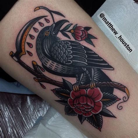 american crow tattoo big bird on mike who has been itching to get tattooed