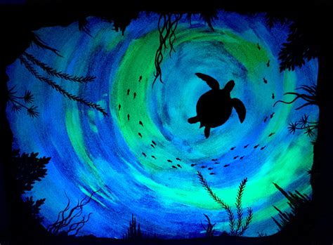 glow in the painting artist sea turtle glow in the turtle sea painting