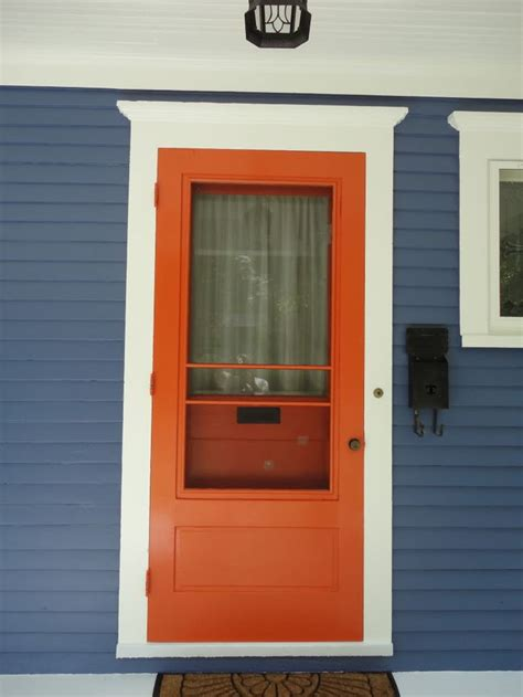 blue house orange door orange front doors front door freak