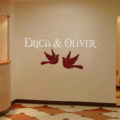 Wallsticker Wedding personalized wedding monograms doves names wall decal sticker graphic