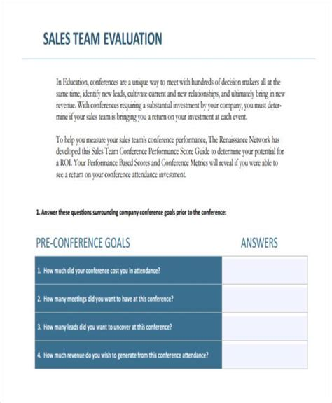 Appraisal Letter To Sales Team 8 Sales Evaluation Form Sles Free Sle Exle Format