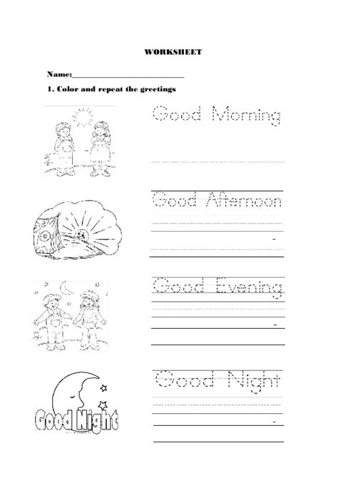 greetings worksheets for greetings for kindergarten