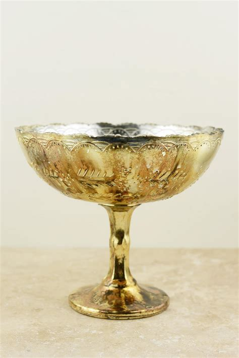 Gold Compote Vase by Glass Compote Desiray 8x7in Gold