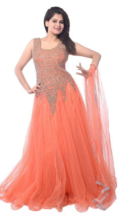 dress design in net peach net long indowestern gown ld4404
