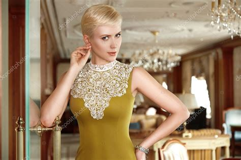 sexy woman blond hair stock photography image 10097442 beautiful sexy woman blonde hair evening make up dress