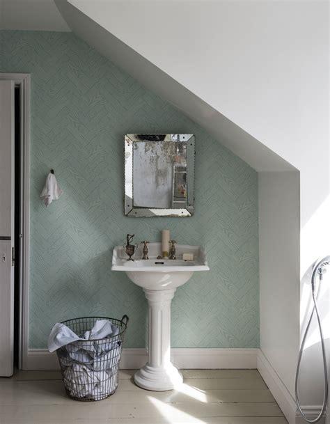Merveilleux Tapisserie Pour Salle De Bain #8: Un-papier-peint-pastel-pour-une-salle-de-bains-zen.jpg