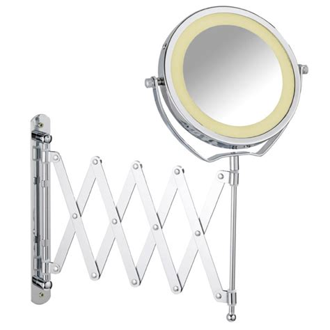 telescopic bathroom mirror wenko brolo led telescopic wall mounted mirror 3x