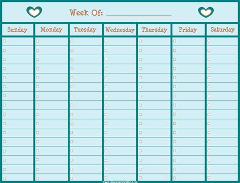 cute turquoise colored weekly calendar template for girl