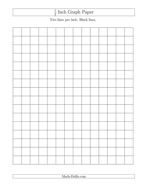 printable graph paper 1 2 inch squares 1 2 inch graph paper with black lines a