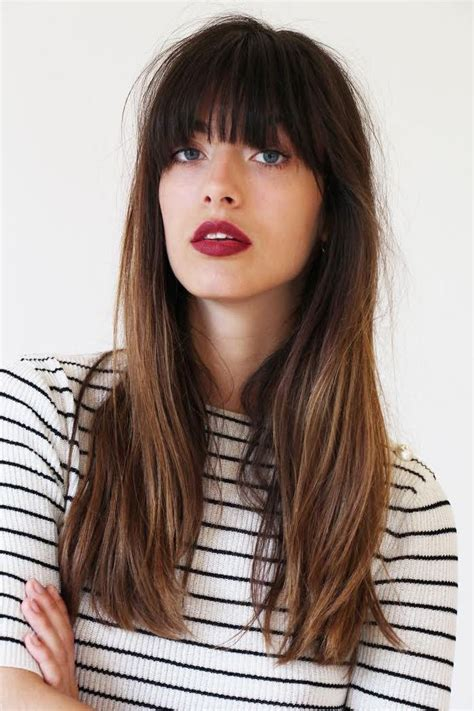 history on long blunt cuts blunt cut with bangs and light ombre bangs baby
