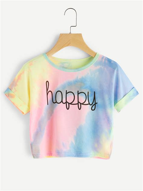 Pastel Blouse Happy Celana Denim cuffed sleeve crop pastel tie dye shein sheinside