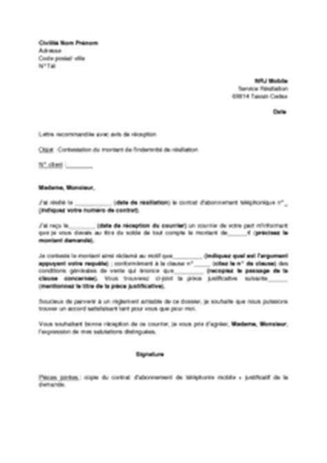 Nrj Mobile Lettre De Résiliation Exemple Gratuit De Lettre Contestation Montant Indemnit 233 R 233 Siliation Aupr 232 S Nrj Mobile
