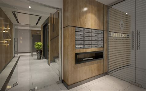 apartments building entrance area foyer lobby with elevator interior design by visualcg