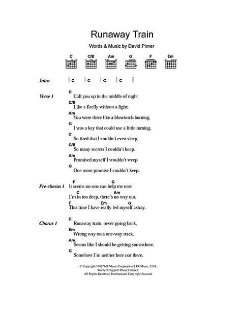 Runaway Train sheet music by Soul Asylum (Lyrics & Chords