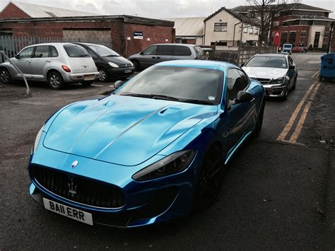 maserati chrome blue chrome maserati wrap by printdsign manchester uk