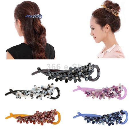 Jepit Rambut Hair Pin Crown 1 wanita bunga plastik banana barrette rambut klip pin rambut cakar aksesoris rambut di aksesoris