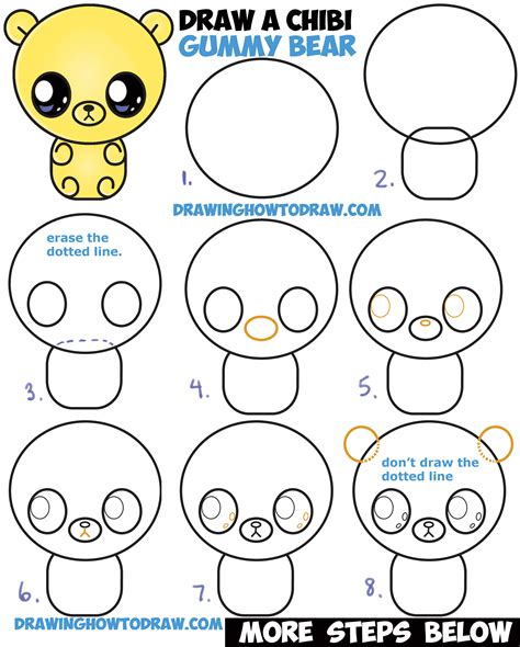 how to draw a step by step easy how to draw a chibi kawaii gummy easy step by step drawing