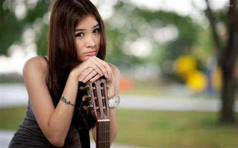 wallpaper girl with guitar sad asian girl with a guitar wallpaper girl wallpapers
