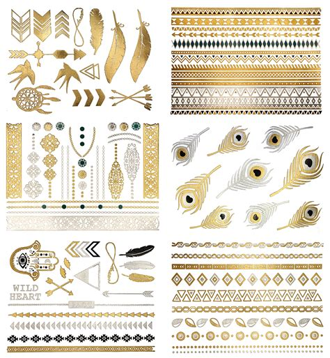 metallic tattoos gold silver black feather design metallic