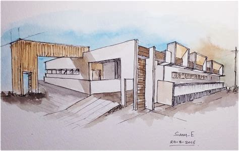 modern building design architecture modern building design freehand drawing 2