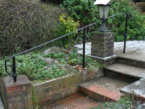 outdoor banister railing fit metal handrail to outdoor steps landscape gardening job in caterham surrey