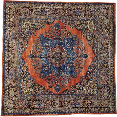 rug square rust antique sarouk pile square rug sh26628 from s and h rugs on ruby