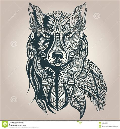 Wolf Zentangle Outline by Ornamental Decorative Wolf Predator Pattern Stock Vector Image 58980588