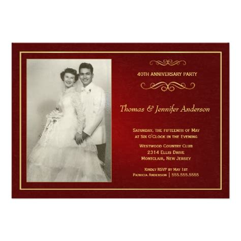 wedding anniversary templates wedding invitation wording ruby wedding anniversary