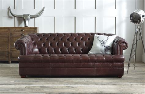 brown leather chesterfield sofa modern 3 seater leather