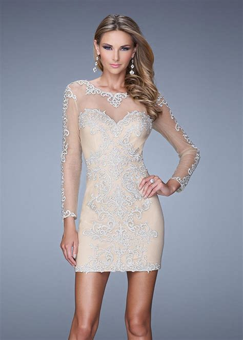 sheer sleeves beaded embroidery silver cocktail
