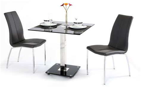 Glass Dining Table For 2 Black Glass Dining Table And 2 Chairs Homegenies
