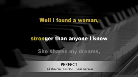 ed sheeran perfect karaoke piano ed sheeran perfect karaoke lyrics piano hq youtube