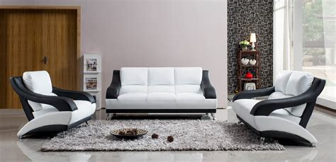 White Leather Set by White Leather Sofa Set With Black Accents Miami Florida