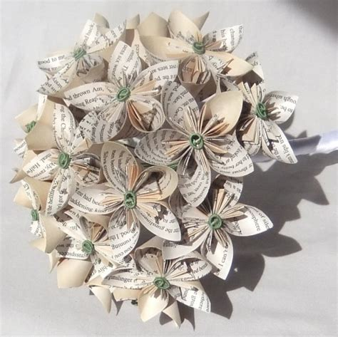 Origami Paper Flowers Wedding - custom paper flower bridal bouquet aftcra