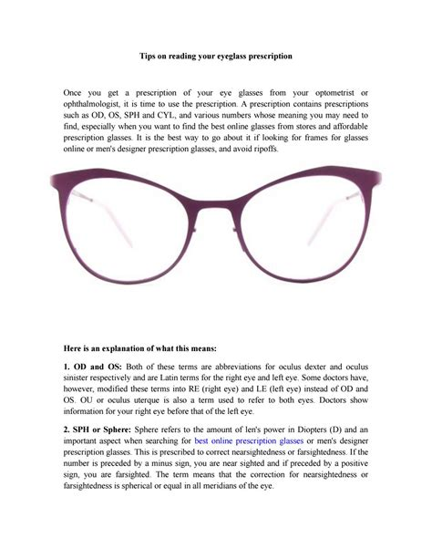 tips on reading your eyeglass prescription by