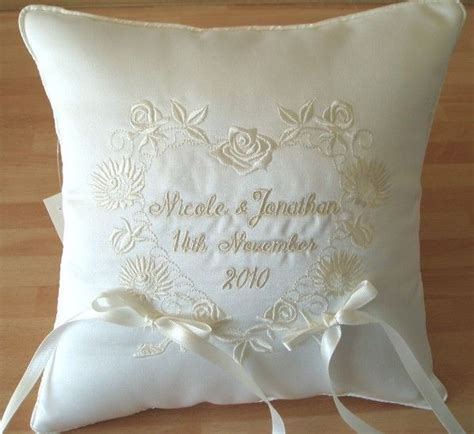ITH wedding pillow   Floral and Celtic Design Wedding Ring